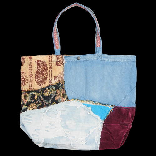 Psyche Denim Patchwork Tote Bag Large in Indigo