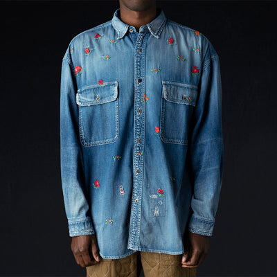 Kapital - 8oz Denim Grande Work Shirt Rose Embroidery in Pro
