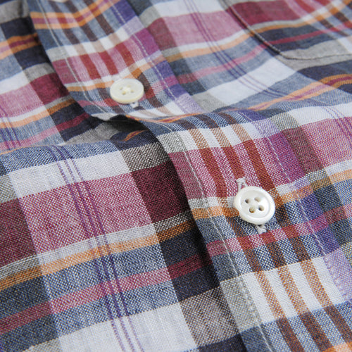 Pure Linen Madras Paul Shirt in Pink