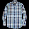 Hartford - Madras Pal Shirt in Indigo Sky Blue Army & Brown