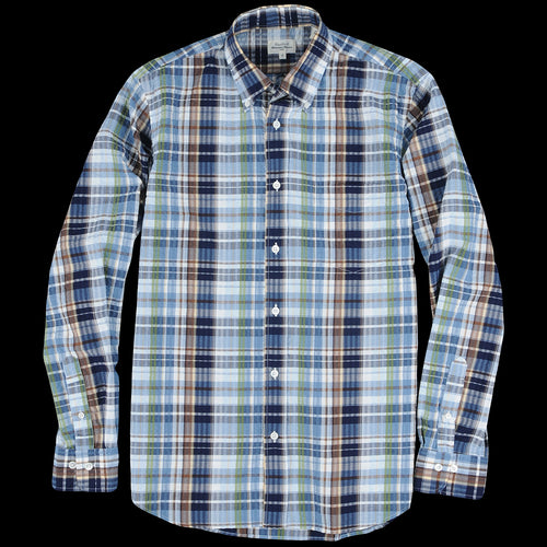 b6f2852b1bd80e Hartford - Madras Pal Shirt in Indigo Sky Blue Army & Brown