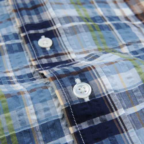 Madras Pal Shirt in Indigo Sky Blue Army & Brown