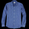 Hartford - Pure Linen Cannabis Leaves Penn Shirt in Blue