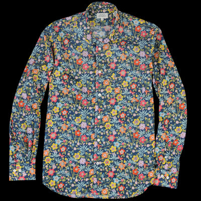 Hartford - Liberty Large Floral Penn Shirt in Multi on Navy