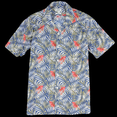 Hartford - Palms & Hibiscus Slam 2 Mc Shirt in Indigo