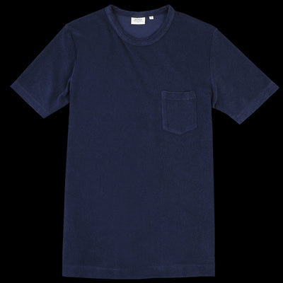Hartford - Bouclette Pocket Crew Tee in Dark Blue
