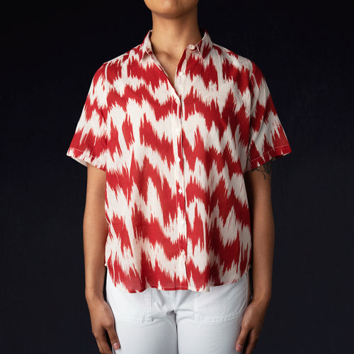 Ikat Cinema Shirt in Red