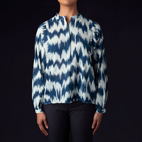 Ikat Hara Top in Petrol Blue