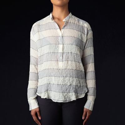 Hartford - Stripe Cody Shirt in Blue Charcoal & Raw