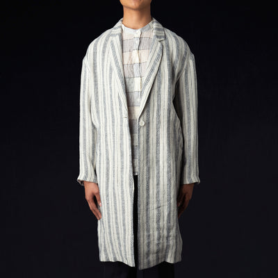 Hartford - Stripe Valino Coat in Navy & Raw