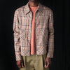 Deveaux - Cotton Check Zip Trucker in Beige