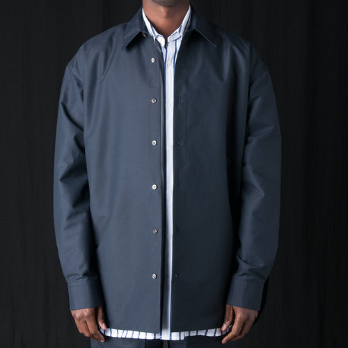 Stiffened Cotton Trapeze Overshirt in Navy