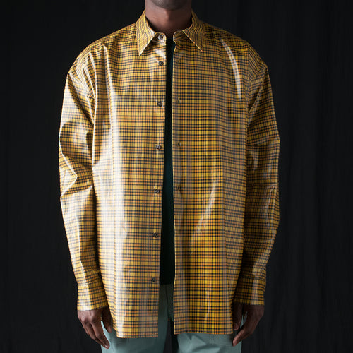 Coated Plaid Trapeze Overshirt in Yellow