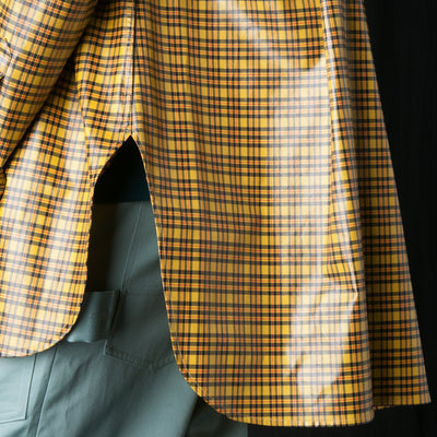 Deveaux - Coated Plaid Trapeze Overshirt in Yellow