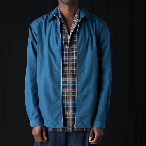 Papery Nylon Zip Overshirt in Marine