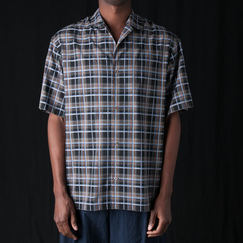 Plaid Oversized Resort Shirt in Black Multi