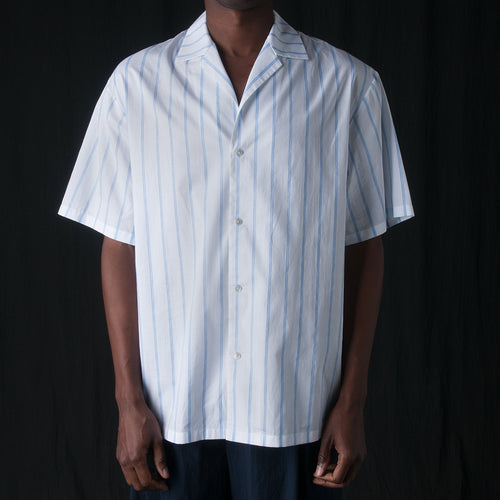 Painted Double Layer Stripe Resort Shirt in Blue