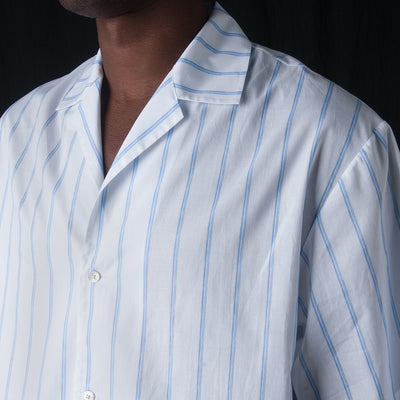 Deveaux - Painted Double Layer Stripe Resort Shirt in Blue