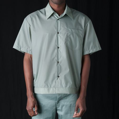 Translucent Taffeta Elasticated Resort Shirt in Aqua