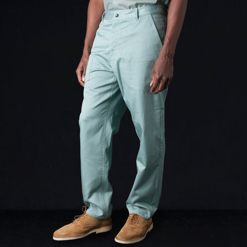 Cotton Twill Cuffed Work Pant in Blue