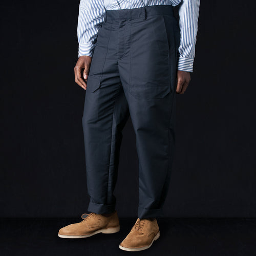 Stiffened Cotton Cuffed Architect Pant in Navy