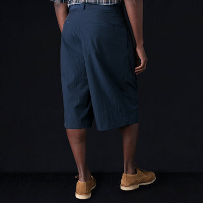 Deveaux - Papery Nylon Pleated Short in Navy