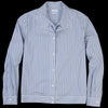 Deveaux - Stripe Double Placket Shirt in Blue on White