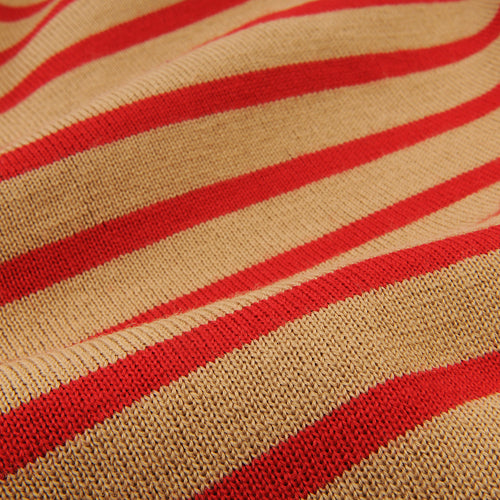 Marine Stripe Symmetrical Sweater in Camel & Red