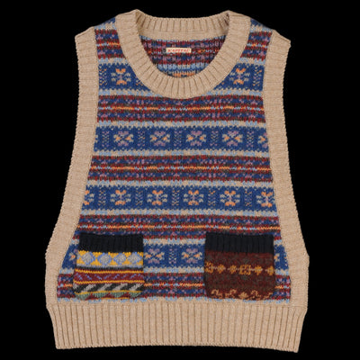 Kapital - Fair Isle CHEEZE Vest in Beige
