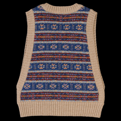 Fair Isle CHEEZE Vest in Beige