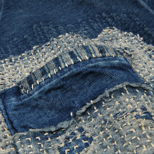Jersey Sashiko Pocket Tee in Indigo