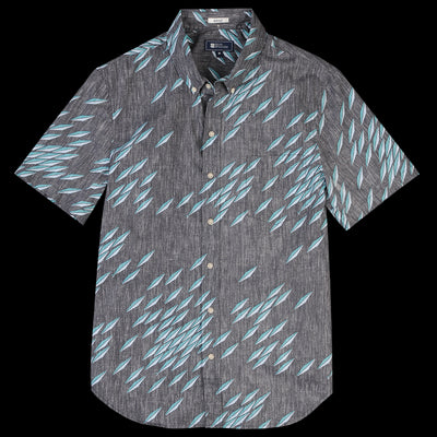 Reyn Spooner - Fish Swarm Storm Tailored Shirt in Obsidian