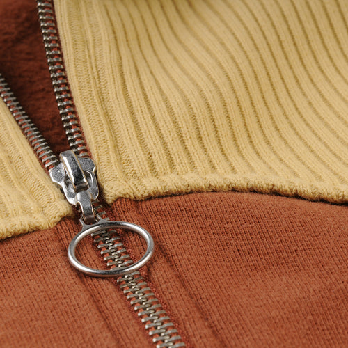 1950's Zip Fleece in Two Tone Brown