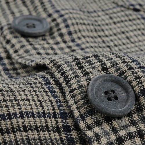 Overshirt Linen Check in Blue & Beige