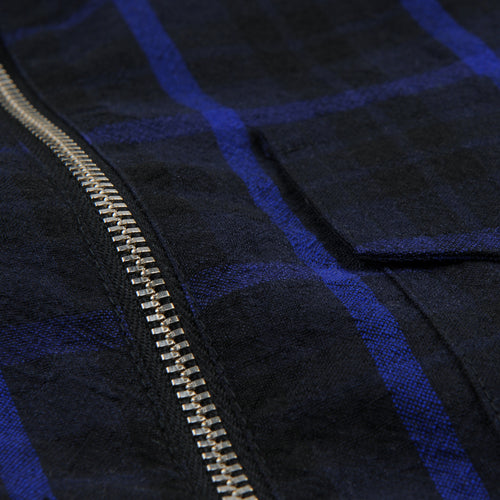 Zipshirt Wool Window Pane in Dark Blue