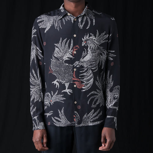 Flores Shirt in Black Rooster