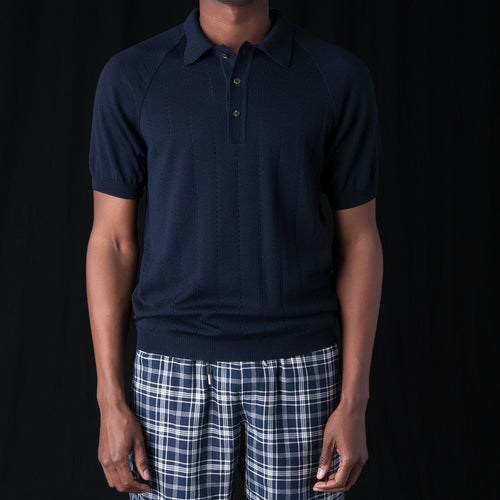 Baccara Knit Polo in Navy