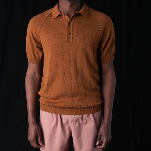 Baccara Knit Polo in Brown