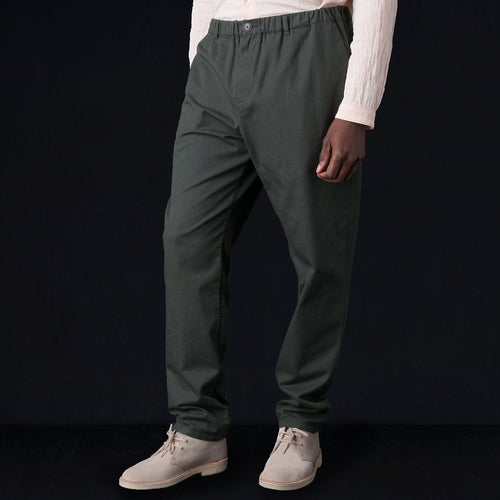 Elasticated Wide Trouser in Washed Olive