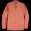 Gitman Vintage - Long Sleeve Two Pocket Camp Shirt in Brick Washer Cloth