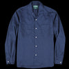 Gitman Vintage - Long Sleeve Two Pocket Camp Shirt in Navy Washer Cloth