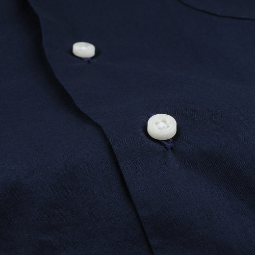 Long Sleeve Two Pocket Camp Shirt in Navy Washer Cloth