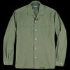 Gitman Vintage - Long Sleeve Two Pocket Camp Shirt in Olive Washer Cloth
