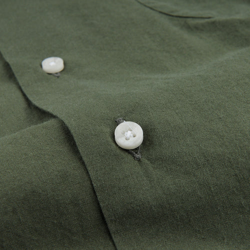 Long Sleeve Two Pocket Camp Shirt in Olive Washer Cloth