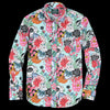 Gitman Vintage - Key Collar Shirt in Aqua Garden Floral