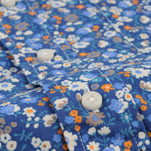 Key Collar Shirt in Blue Small Floral