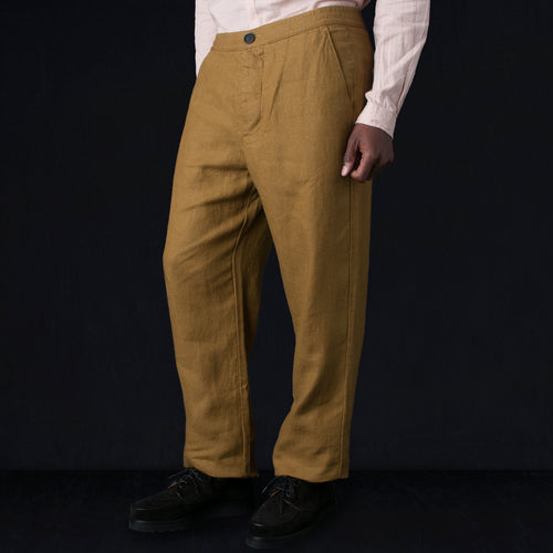 Drawstring Trouser in Evering Ochre
