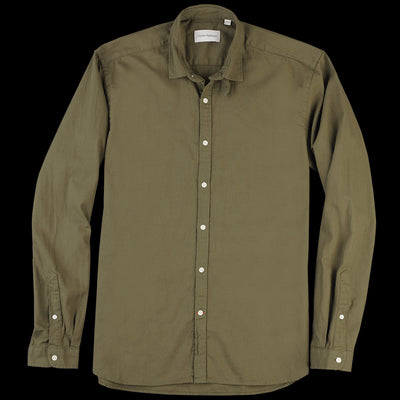 Oliver Spencer - Clerkenwell Tab Shirt in Kildale Olive Green