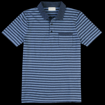 Oliver Spencer - Dunmore Polo in Capri Navy & Sky Blue