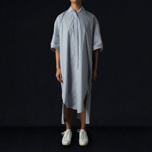 Blanchard Shirt Dress in Blue on White Stripe